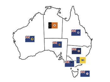 Picture of Australian Territories/States - Flag Stickers Set